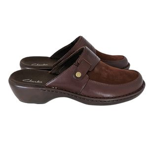 Clarks Brown Leather Suede Argentina Mules 8M